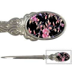Neon Flowers Black Background Letter Openers
