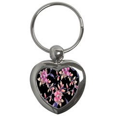 Neon Flowers Black Background Key Chains (Heart)