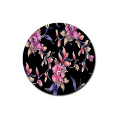 Neon Flowers Black Background Rubber Round Coaster (4 pack)