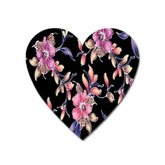 Neon Flowers Black Background Heart Magnet