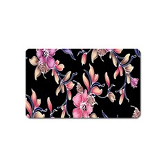 Neon Flowers Black Background Magnet (Name Card)