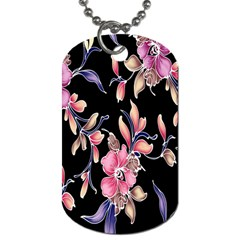 Neon Flowers Black Background Dog Tag (one Side)