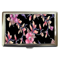 Neon Flowers Black Background Cigarette Money Cases