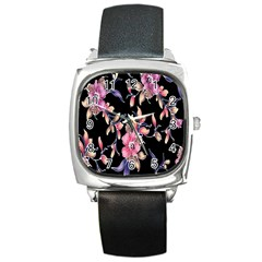 Neon Flowers Black Background Square Metal Watch