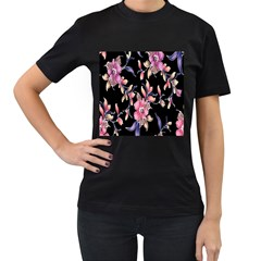 Neon Flowers Black Background Women s T-Shirt (Black) (Two Sided)