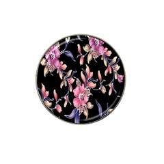 Neon Flowers Black Background Hat Clip Ball Marker (10 pack)