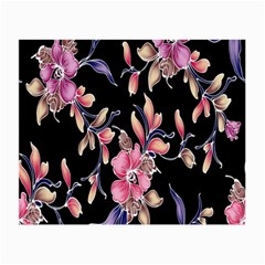 Neon Flowers Black Background Small Glasses Cloth