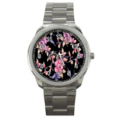 Neon Flowers Black Background Sport Metal Watch