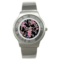 Neon Flowers Black Background Stainless Steel Watch