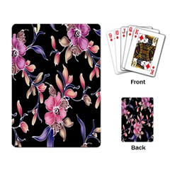 Neon Flowers Black Background Playing Card