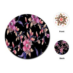 Neon Flowers Black Background Playing Cards (round)