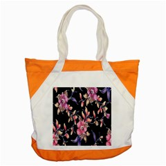 Neon Flowers Black Background Accent Tote Bag