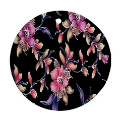 Neon Flowers Black Background Round Ornament (Two Sides)