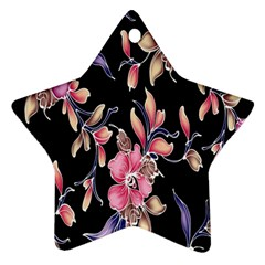 Neon Flowers Black Background Star Ornament (two Sides)