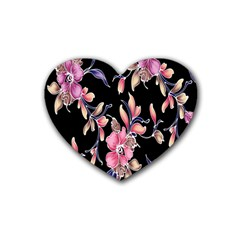 Neon Flowers Black Background Rubber Coaster (Heart)