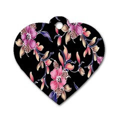 Neon Flowers Black Background Dog Tag Heart (Two Sides)