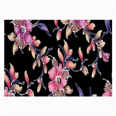 Neon Flowers Black Background Large Glasses Cloth