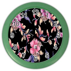 Neon Flowers Black Background Color Wall Clocks