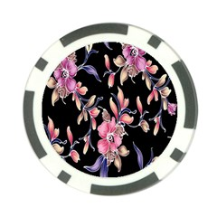Neon Flowers Black Background Poker Chip Card Guard