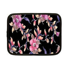 Neon Flowers Black Background Netbook Case (small)