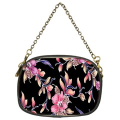 Neon Flowers Black Background Chain Purses (two Sides)