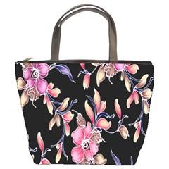Neon Flowers Black Background Bucket Bags
