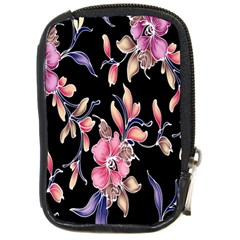 Neon Flowers Black Background Compact Camera Cases