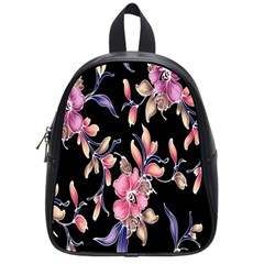 Neon Flowers Black Background School Bags (Small)