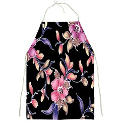 Neon Flowers Black Background Full Print Aprons