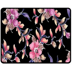 Neon Flowers Black Background Fleece Blanket (Medium)