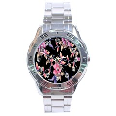 Neon Flowers Black Background Stainless Steel Analogue Watch