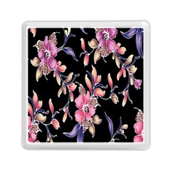 Neon Flowers Black Background Memory Card Reader (square)