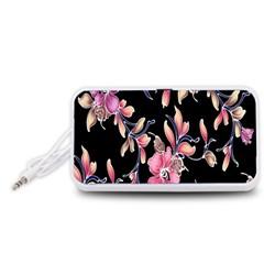 Neon Flowers Black Background Portable Speaker (White)