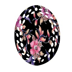 Neon Flowers Black Background Oval Filigree Ornament (Two Sides)