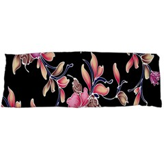 Neon Flowers Black Background Body Pillow Case (Dakimakura)