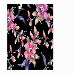 Neon Flowers Black Background Small Garden Flag (Two Sides)