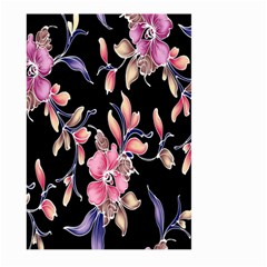 Neon Flowers Black Background Large Garden Flag (two Sides)