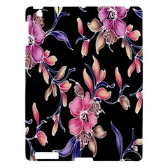 Neon Flowers Black Background Apple iPad 3/4 Hardshell Case