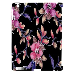 Neon Flowers Black Background Apple iPad 3/4 Hardshell Case (Compatible with Smart Cover)
