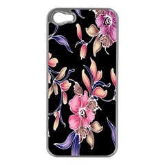 Neon Flowers Black Background Apple iPhone 5 Case (Silver)