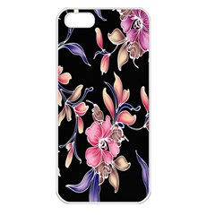 Neon Flowers Black Background Apple iPhone 5 Seamless Case (White)
