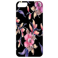 Neon Flowers Black Background Apple Iphone 5 Classic Hardshell Case