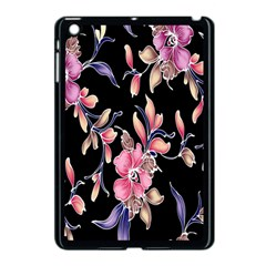 Neon Flowers Black Background Apple iPad Mini Case (Black)