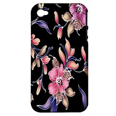 Neon Flowers Black Background Apple iPhone 4/4S Hardshell Case (PC+Silicone)