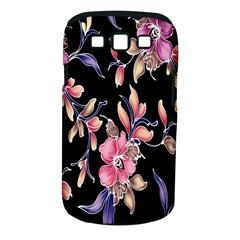 Neon Flowers Black Background Samsung Galaxy S Iii Classic Hardshell Case (pc+silicone)