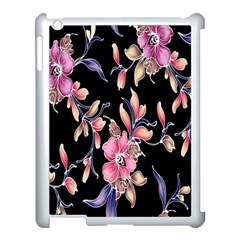 Neon Flowers Black Background Apple Ipad 3/4 Case (white)