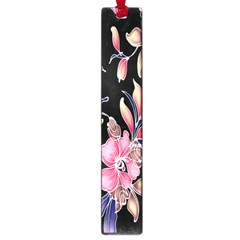 Neon Flowers Black Background Large Book Marks