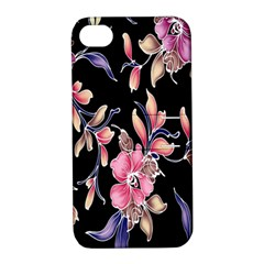 Neon Flowers Black Background Apple iPhone 4/4S Hardshell Case with Stand