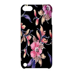 Neon Flowers Black Background Apple Ipod Touch 5 Hardshell Case With Stand