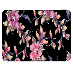 Neon Flowers Black Background Samsung Galaxy Tab 7  P1000 Flip Case